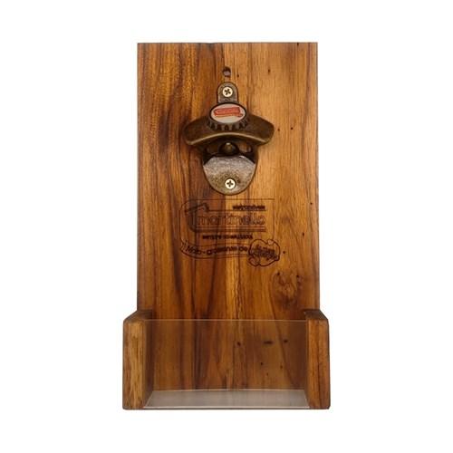 Abridor de garrafa com porta tampa CAV - Ouro evelhecido