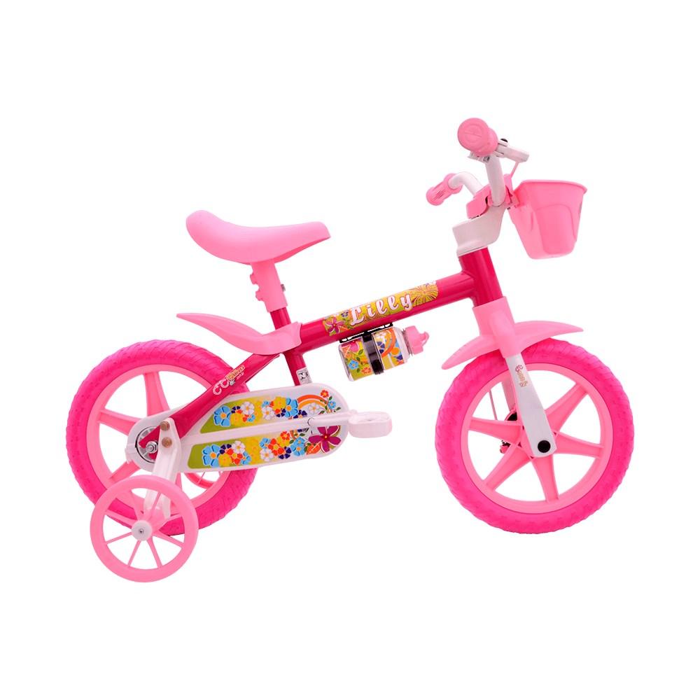 Bicicleta Aro 12 Cairu Flower - Rosa Branco Lilly 110581