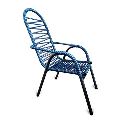 Cadeira de Área Vinholi Luxo Fio Duplo - Azul/Prata