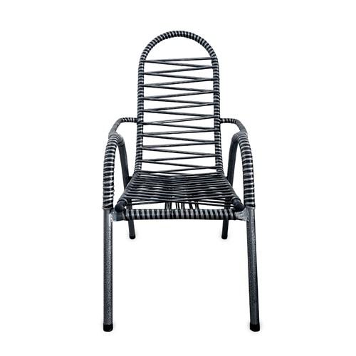 Cadeira de Área Vinholi Luxo Fio Duplo - Preto/Prata