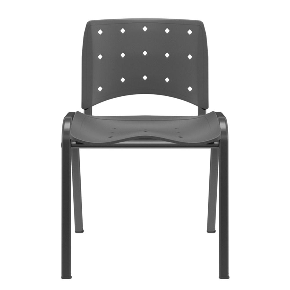 Cadeira de Escritório Plaxmetal Plástico Ergoplax Fixa Secretária - Preto