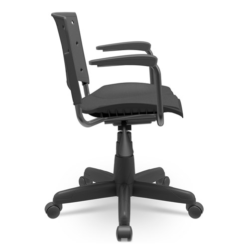 Cadeira de Escritório Plaxmetal Secretaria Estofada - Preto com Braço