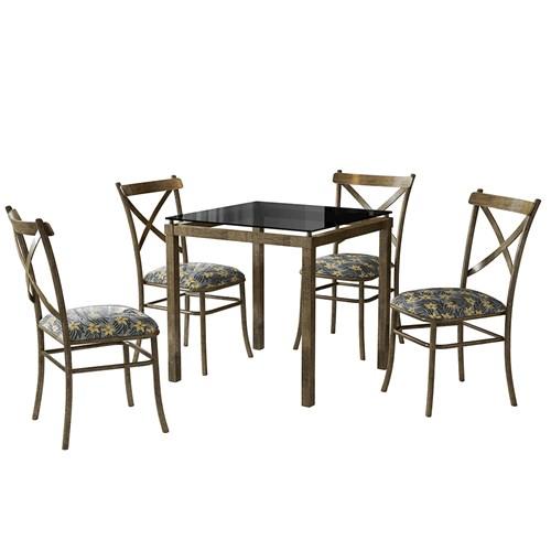 Conjunto de Mesa 4 Cadeiras Decorlidi Cairo - Ouro Envelhecido