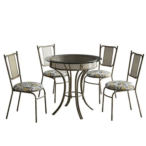 Conjunto de Mesa 4 Cadeiras Decorlidi França - Aço Envelhecido