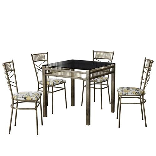 Conjunto de Mesa 4 Cadeiras Decorlidi Siena - Ouro Envelhecido