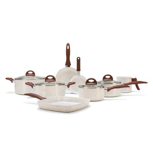 Conjunto de Panelas Brinox Ceramic Life Smart Plus - 8 Peças Vanilla