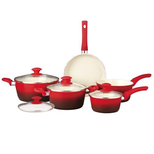 Conjunto de Panelas Class Home Ceramic - 5 Peças Vermelho