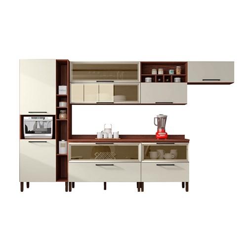 Cozinha Kits Parana Viv Concept - Nogueira / Off White 8 Peças