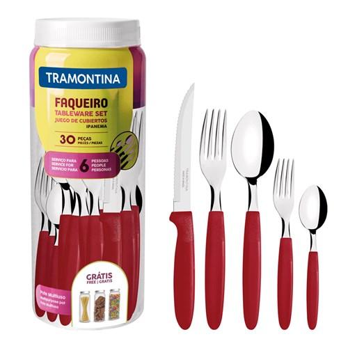 Faqueiro Tramontina Ipanema com Lâminas em Aço Inox 30 Peças - Vermelho