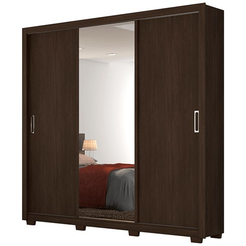 Guarda-roupa 03 Portas de Correr Demobile Residence - Ebano com Espelho