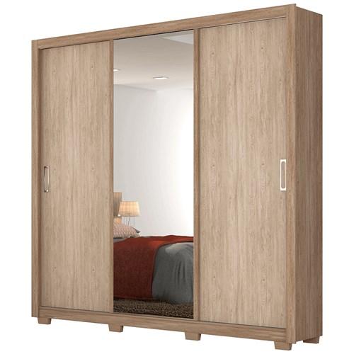 Guarda-roupa 03 Portas de Correr Demobile Residence - Nogal e Vanilla com Espelho
