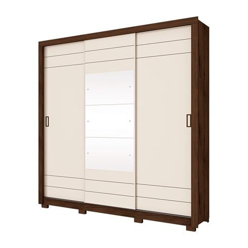 Guarda-roupa 03 Portas de Correr HENN Avenida - Café / Off White com Espelho