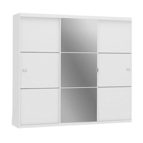 Guarda-roupa 03 Portas de Correr Kappesberg CBS743 - Branco com Espelho