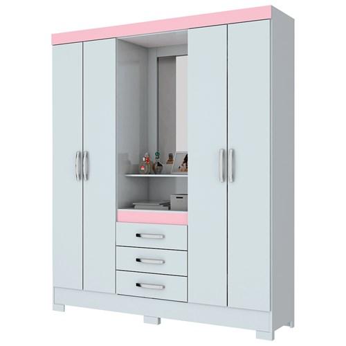 Guarda-roupa 04 Portas Briz Capelinha B24 - Branco / Rosa com Espelho
