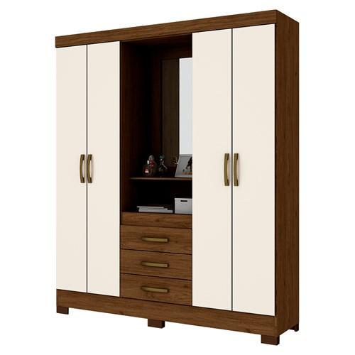 Guarda-roupa 04 Portas Briz Capelinha B24 - Castanho / Off White com Espelho
