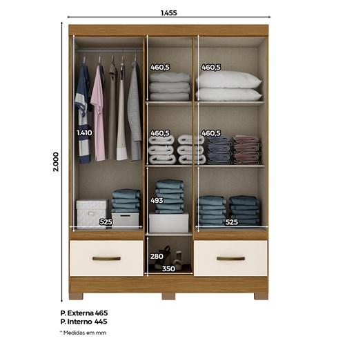 Guarda-roupa 05 Portas Briz B60 - Castanho com Espelho