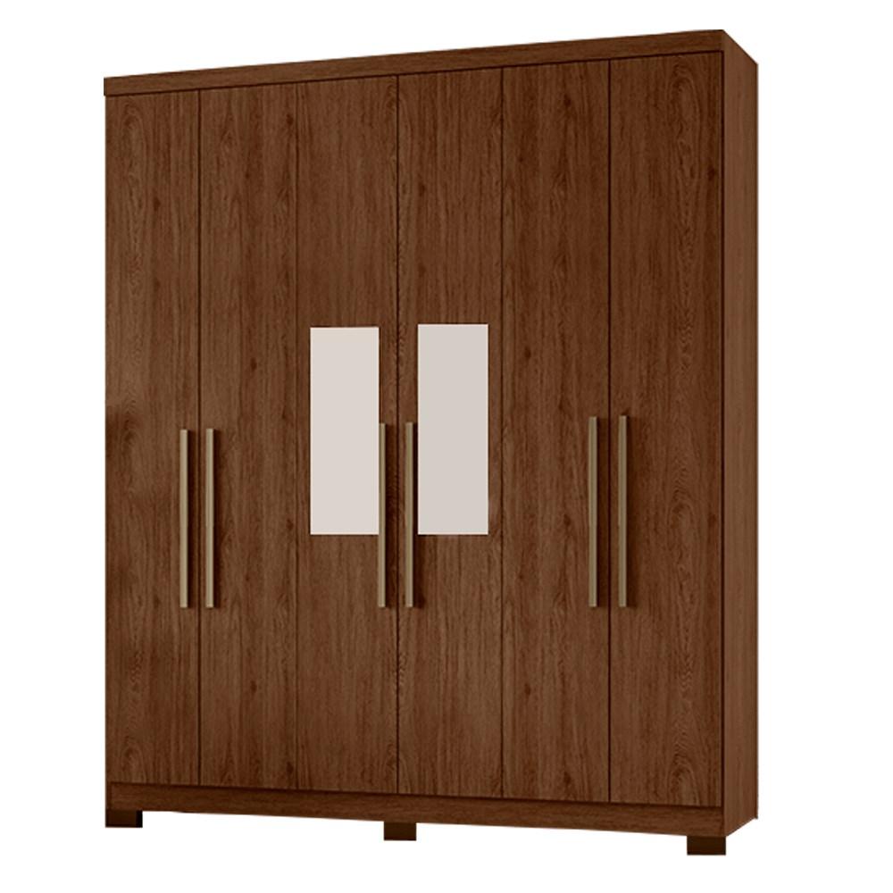 Guarda-roupa 06 Portas Briz BE13-130 Com Pes e Espelho - Castanho