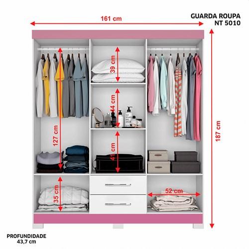 Guarda-roupa 06 Portas Notável NT-5010 - Branco / Rosa