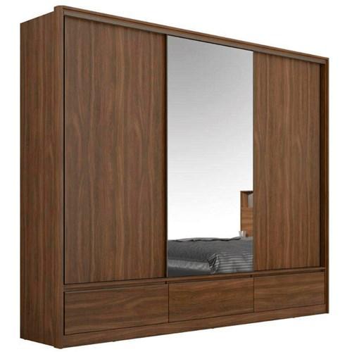 Guarda-roupa Casal 03 Portas de Correr Demobile - Ambar Demartez Lounge com Espelho