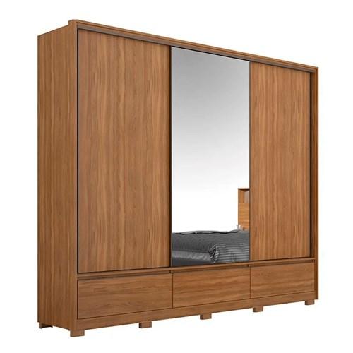 Guarda-roupa Casal 03 Portas de Correr Demobile - Amendoa Demartez Lounge com Espelho