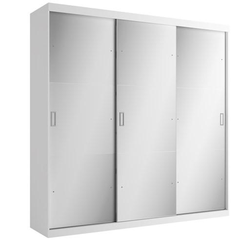 Guarda-roupa Casal 03 Portas de Correr THB Mirage Plus Glass - Branco Sensitive 4964 com Espelho