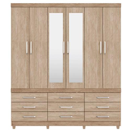 Guarda-roupa Casal 06 Portas Demobile Canada - Nogal e Vanilla Touch com Espelho