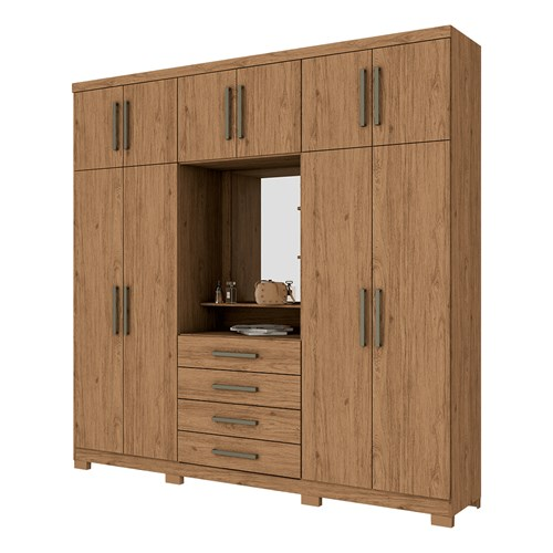 Guarda-roupa Casal 10 Portas Henn Viena - Rústico com Espelho