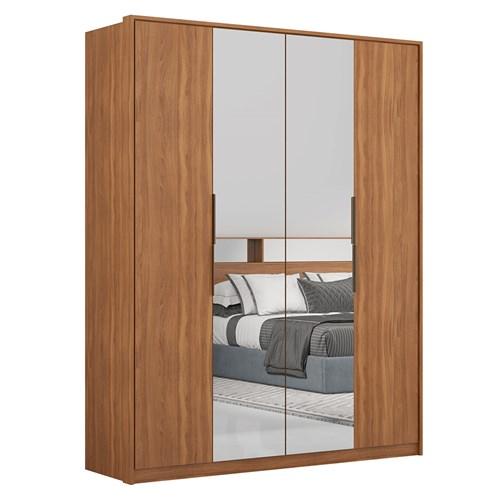 Guarda-roupa Casal Demartez 04 Portas Atore - Amêndola com Espelho