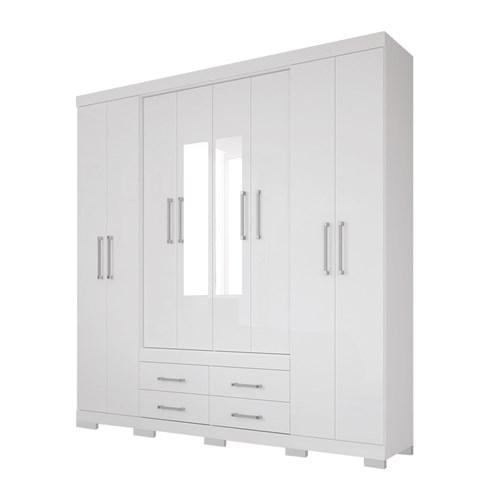 Guarda-roupa Casal Santos Andira 8 Portas Napoles - Branco com Espelho