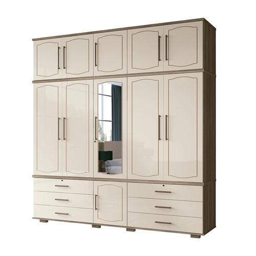 Guarda-roupa Casal Santos Andira Londres 5 Portas - Castanha / Off White com Espelho