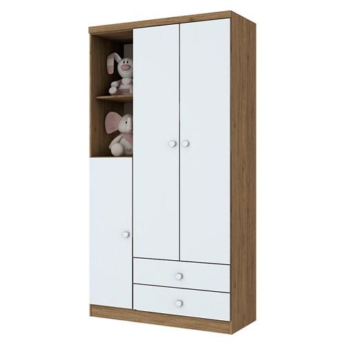 Guarda-roupas 03 Portas Henn Bala de Menta - Rústico / Branco I110-18