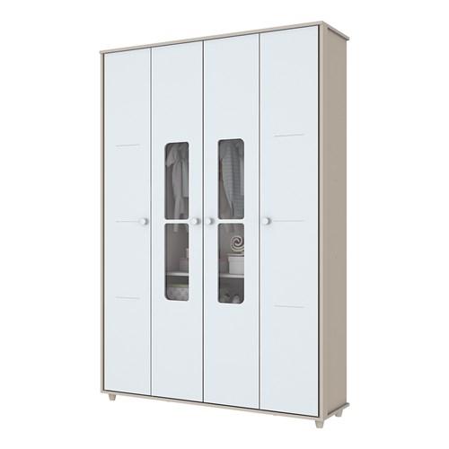 Guarda-roupas 04 Portas Henn Aquarela - Cristal/Branco
