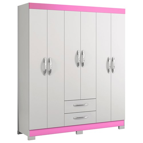 Guarda-roupas 06 Portas Notavel NT5130 - Branco / Rosa