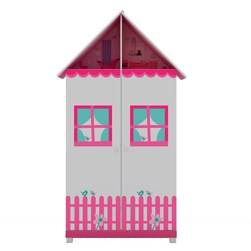 Guarda-Roupas Infantil Gelius Casinha 2P - Rosa / Branco