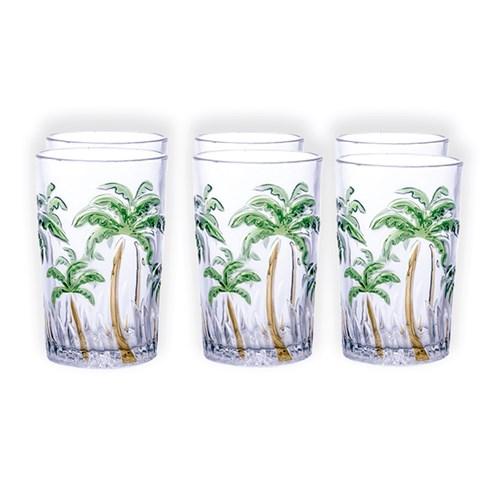 Jogo De Copos Agua Palm Tree Color - Class Home 1156 - 6 Peças