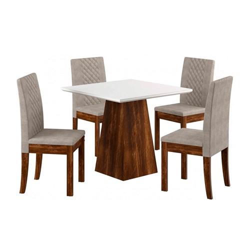 Jogo De Mesa 4 Cadeiras Sonetto Luci - Rústico Branco / Bege