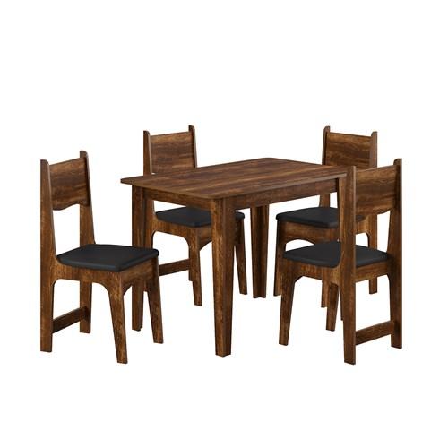 Jogo De Mesa 4 Cadeiras Sonetto Nicoli - Rústico / Preto