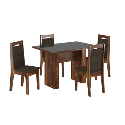 Jogo De Mesa 4 Cadeiras Sonetto Urca - Rústico / Preto / Marrom