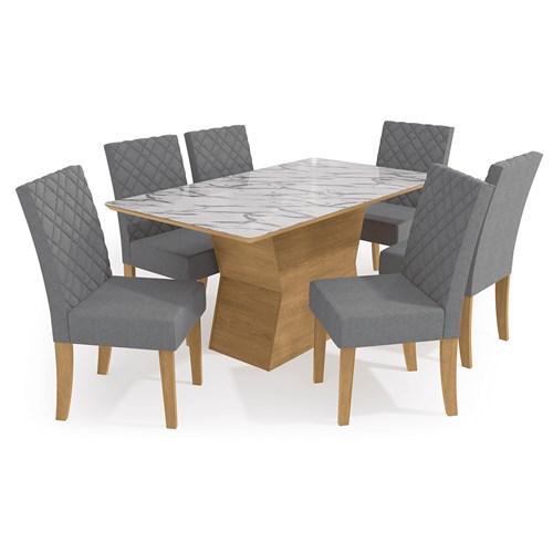 Jogo De Mesa 6 Cadeiras Kappesberg Star - CSJ474 Freijo / Pedra