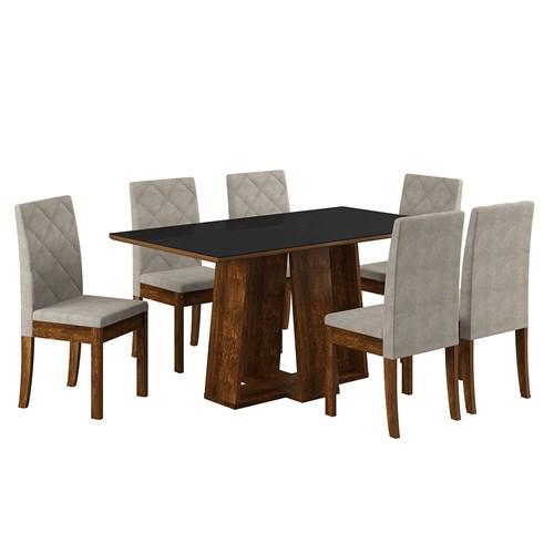 Jogo De Mesa 6 Cadeiras Sonetto Isis - Rústico Preto / Bege