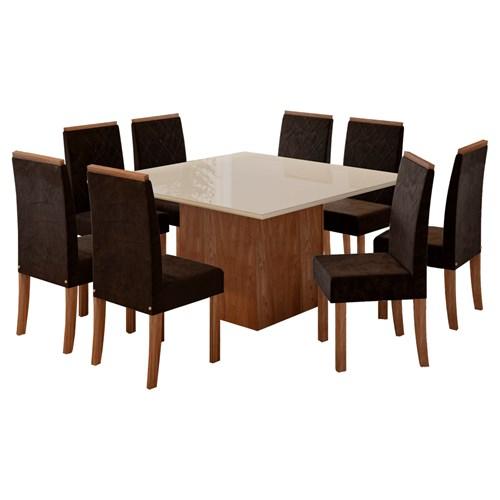 Jogo De Mesa 8 Cadeiras Sonetto Atena - Nogal Off White / Veludo Chocolate