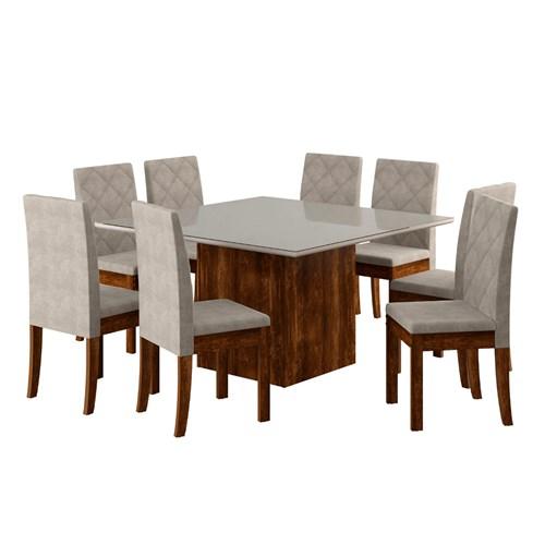 Jogo De Mesa 8 Cadeiras Sonetto Atena - Rústico Branco / Bege