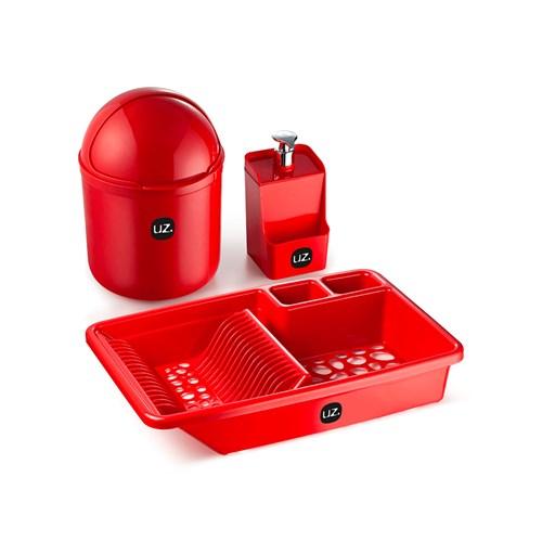 Jogo Escorredor de Louça UZ1900 - 03 Peças Vermelho