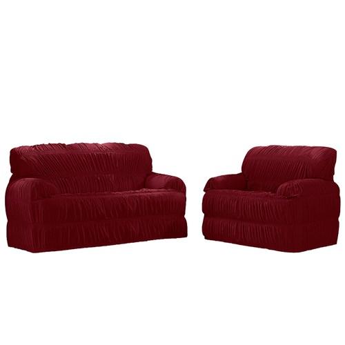 Kit Capa para sofá Adomes 02 e 03 Lugares Malha 540 - Vinho