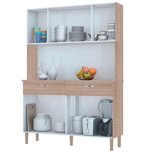 Kit Cozinha Pan 08 Portas Kits Parana - Nogal / White / Nogal