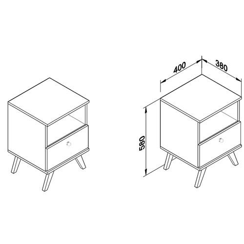 Mesa de Cabeceira MovelBento 1 Gaveta RT 3019 - Rústico