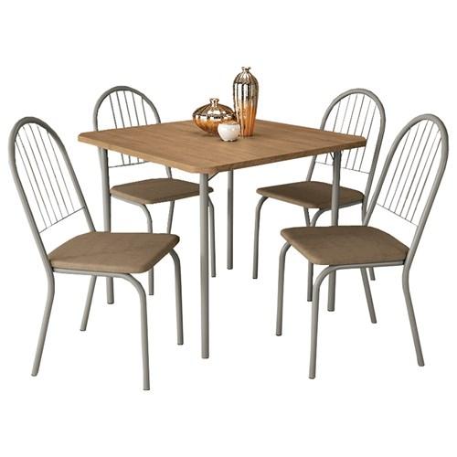 Mesa Kappesberg Sena com 4 Cadeiras - Nickel/Freijo