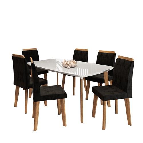 Mesa RV Jade com 6 Cadeiras Diamannte - Off White/Preto