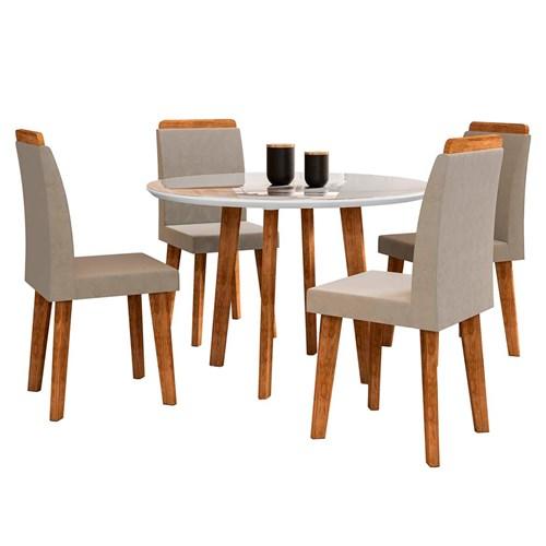 Mesa RV Turmalina 4 Cadeiras - Branco / Caramelo