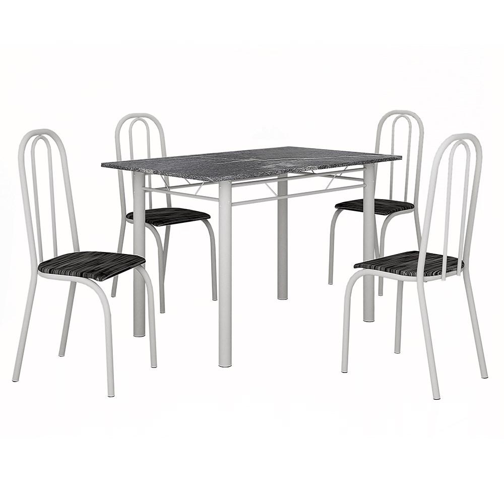 Mesa Teixeira Lisboa 1,20 com 4 Cadeiras Granito - Branco
